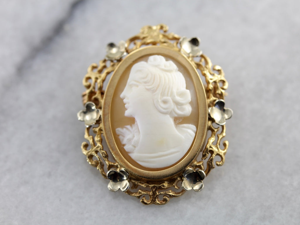 Vintage Cameo Brooch with Lovely Floral Frame