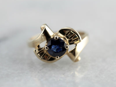 Vintage Retro Bow Ring with Sapphire Center