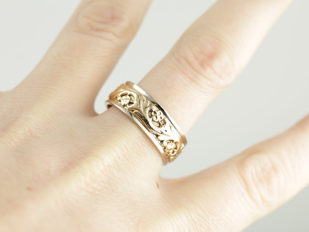 Wide Ornate Floral Two Tone Wedding Band
