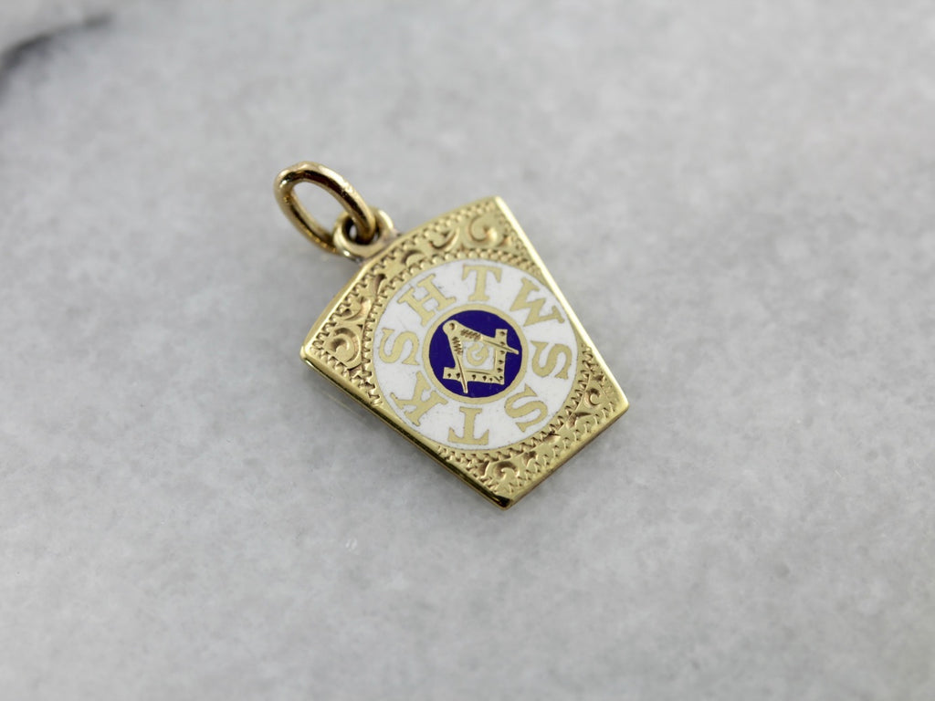 Yellow Gold and White Enamel Fraternal Fob Pendant