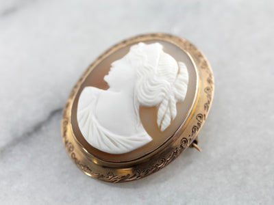 Antique Cameo Etched Rose Gold Brooch