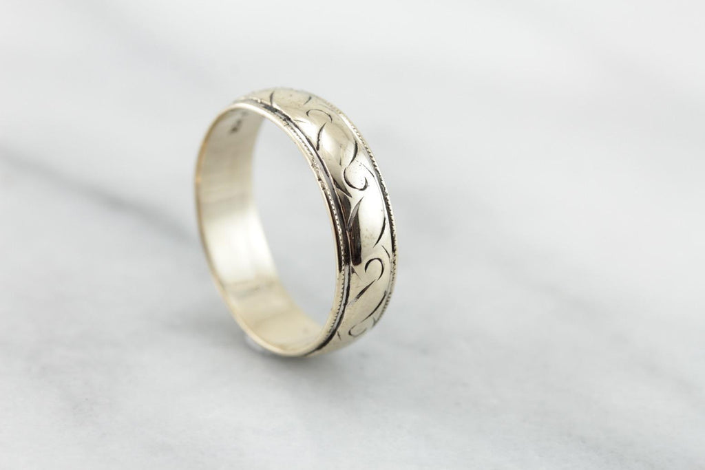 Men's Scrolling Pattern Wedding Band