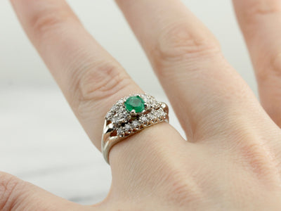 Emerald and Diamond Anniversary Ring in White Gold