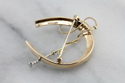 Vintage Equestrian Themed Horseshoe Brooch, Horseshoe and Lunge Line Pin