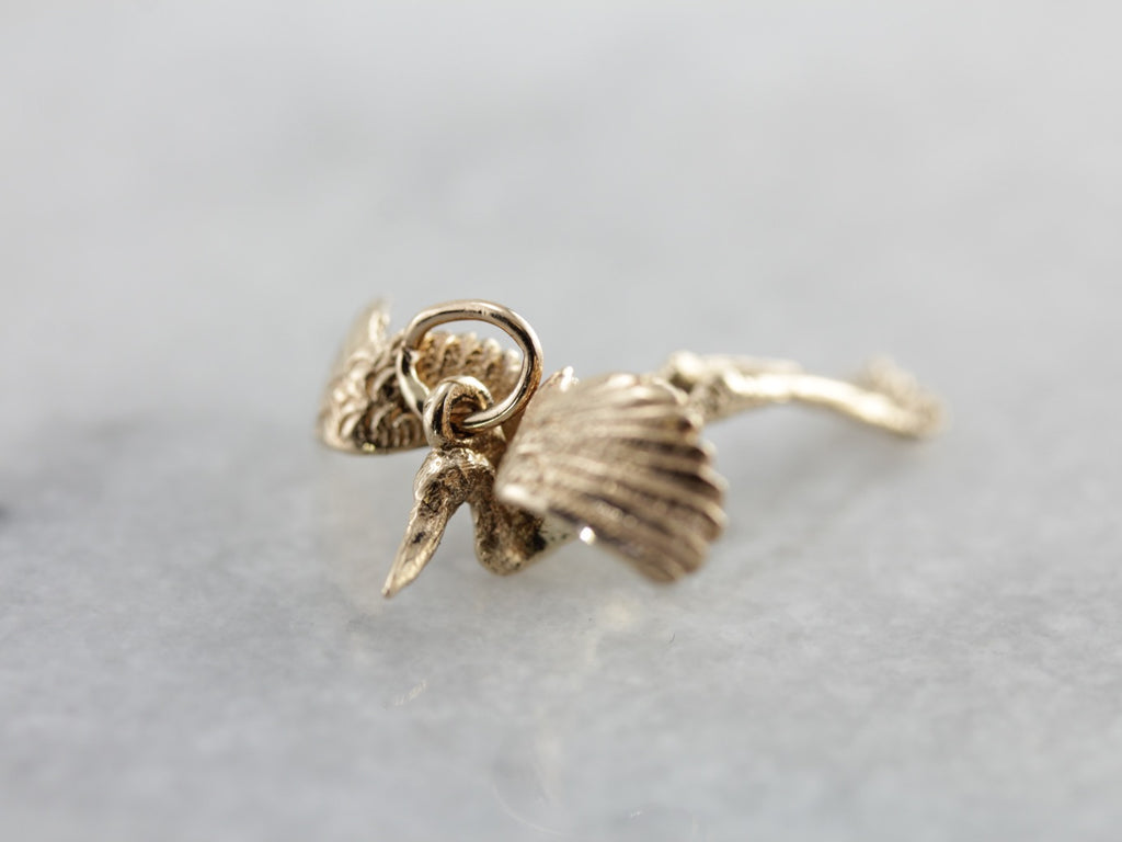 Detailed Crane or Heron Pendant or Charm in Yellow Gold