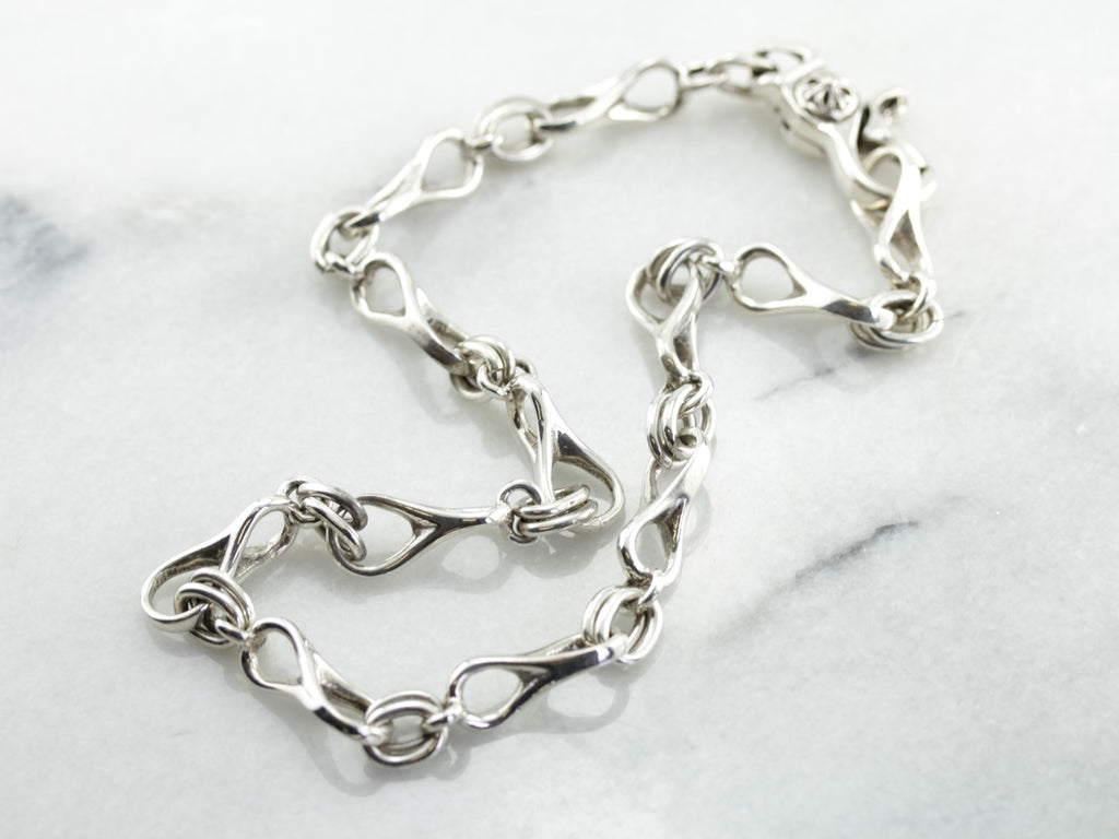 Heavy Boat Link Necklace in Sterling Silver