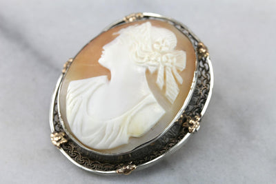 Flower Flecked Filigree: Vintage Shell Cameo in Sterling Silver