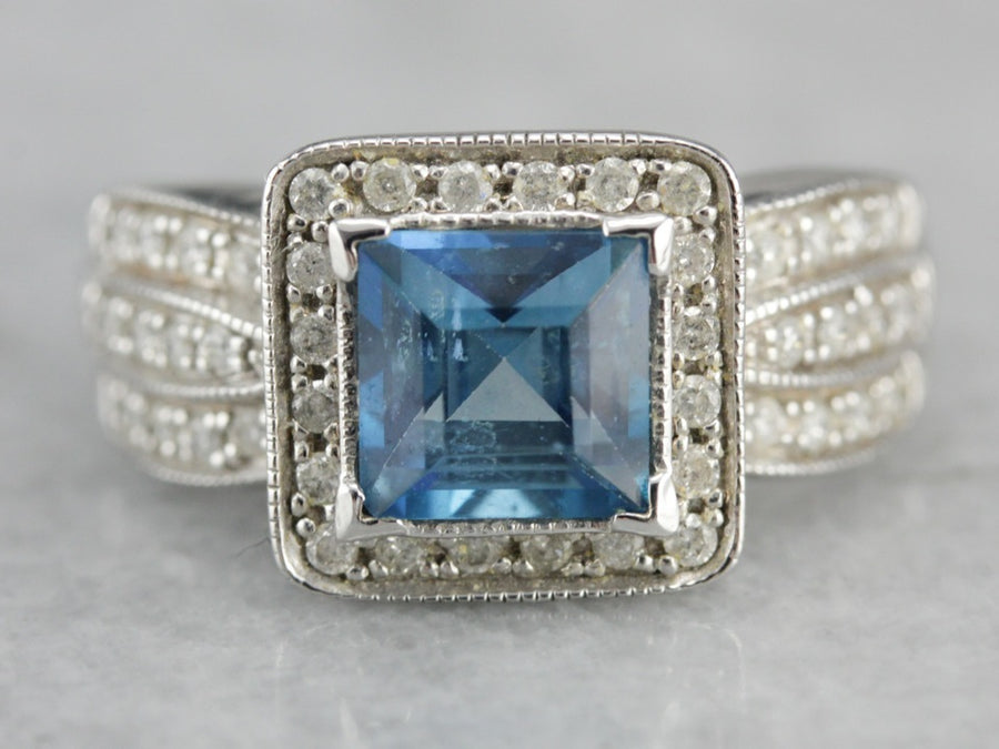 14K White Gold Pave Diamond and Blue Topaz Cocktail Ring