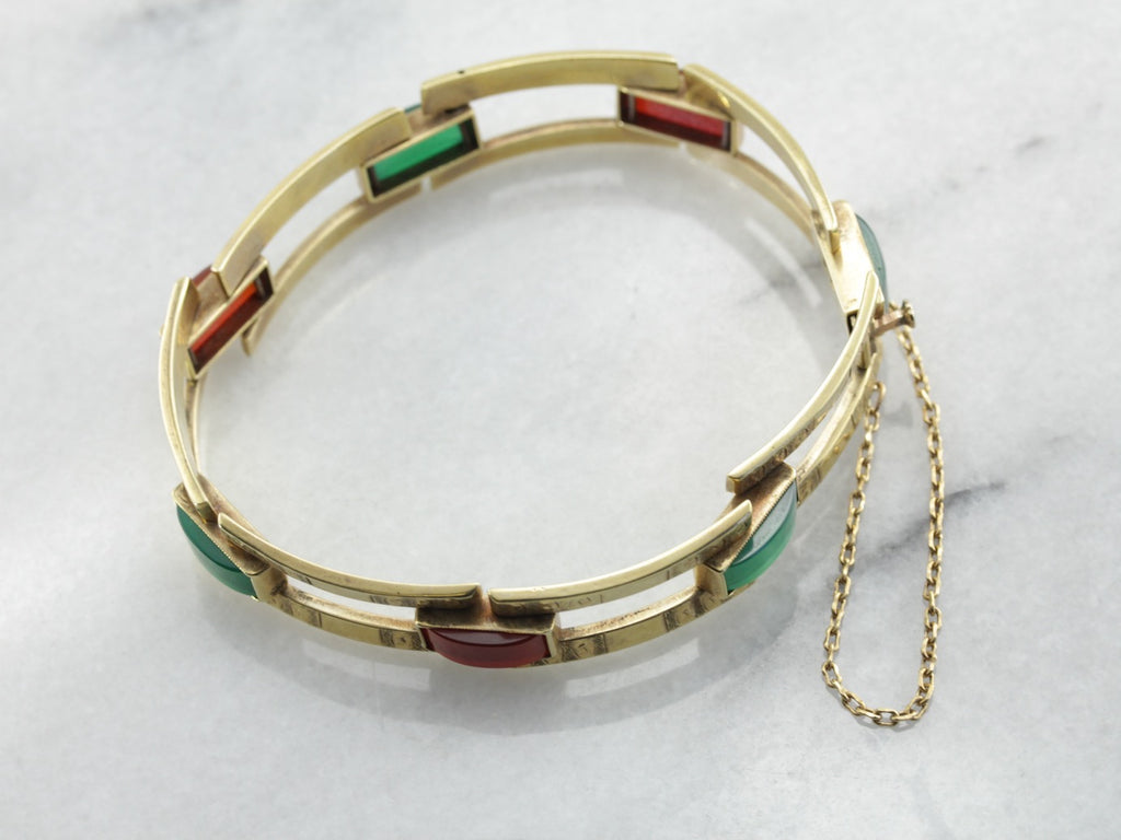 Fantastic Green Gold Bracelet with Great Vintage Stones