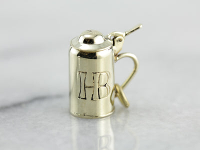 "Beer Stein Charm Engraved ""HB"" in Green Gold"