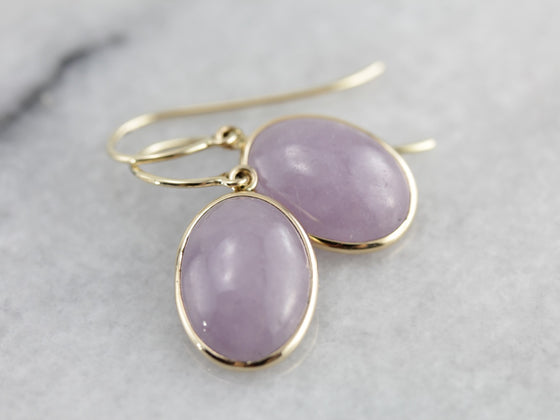 Beautiful Lavender Jade Cabochon Drop Earrings, Pretty Yellow Gold Findings