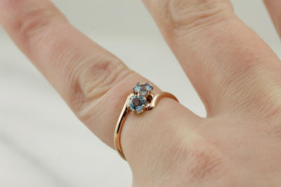 Blue Bypass, Vintage Blue Topaz Bypass Ring