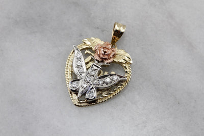 Butterfly Rose, Love You Diamond Heart Pendant, Upcycled Diamond and Black Hills Gold Pendant