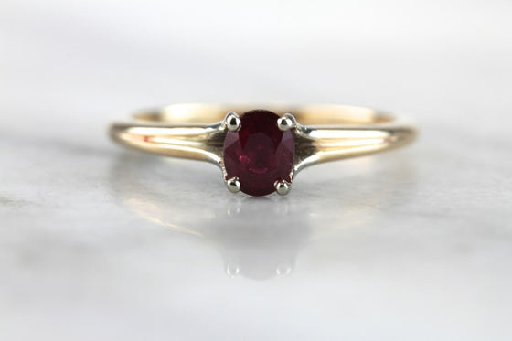 Classic Ruby Solitaire Engagement Ring