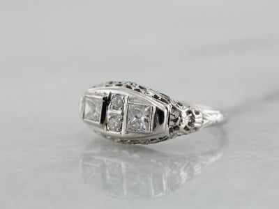 Art Deco Era Diamond Filigree Ring