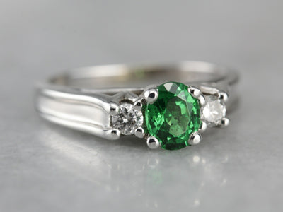 Green Tsavorite Garnet and Diamond White Gold Ring