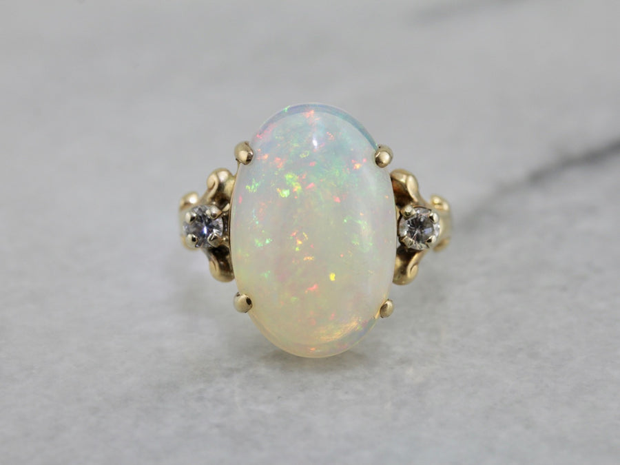 Outstanding Opal Dinner Ring with Diamond Accents