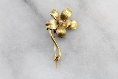 Antique Seed Pearl Flower Gold Brooch