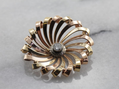 Mid Century Spiral Brooch with Diamond Center in Tri Color Gold