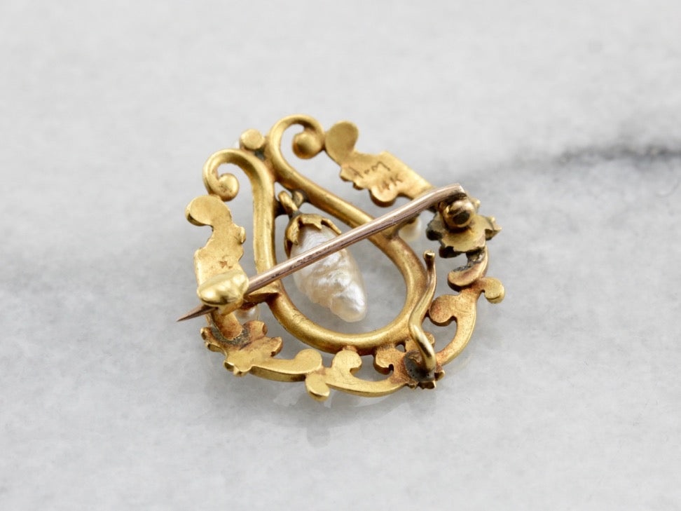 Stunning Belle Époque River Pearl Festoon Brooch