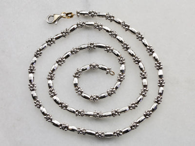 Faceted Bead Chain Necklace in White Gold