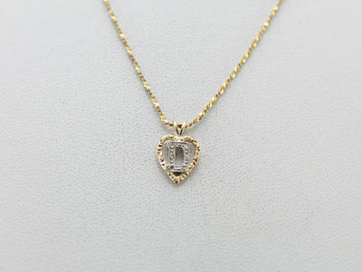 Vintage, Diamond & Gold D Initial Pendant with Heart Motif
