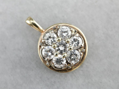 Diamond Cluster Gold Pendant