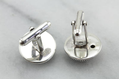 Textured Dome Cufflinks in Sterling Silver, Mod Era Cufflinks with Sweet Style!