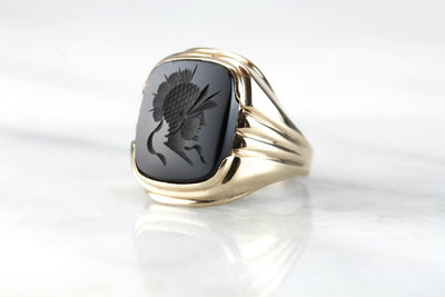 Scipio in Carthage: Men's Black Onyx Intaglio Statement Ring