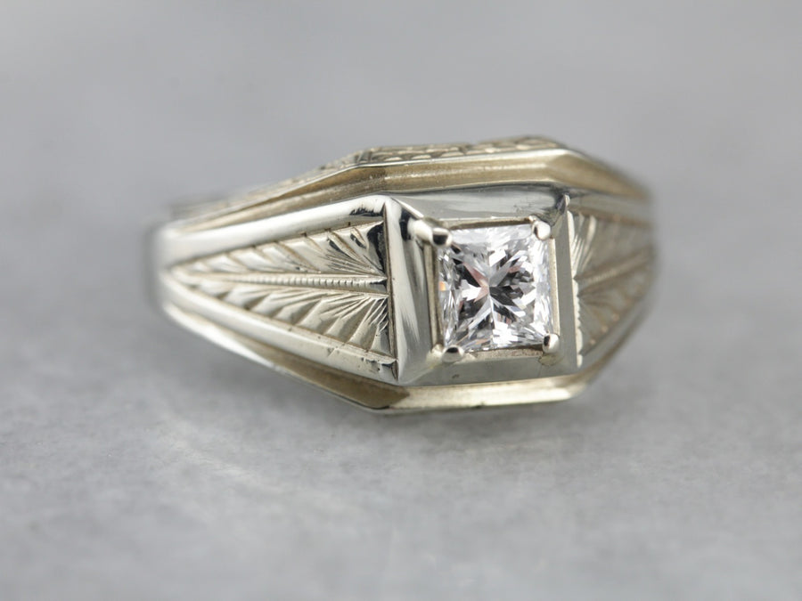 Men's Art Deco Etched Diamond Ring