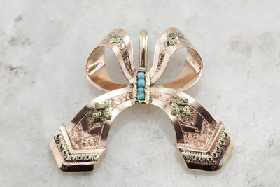 Antique Edwardian / Victorian Bridal Jewelry: Beautiful Turquoise and Rose Gold Vintage Ribbon Pendant