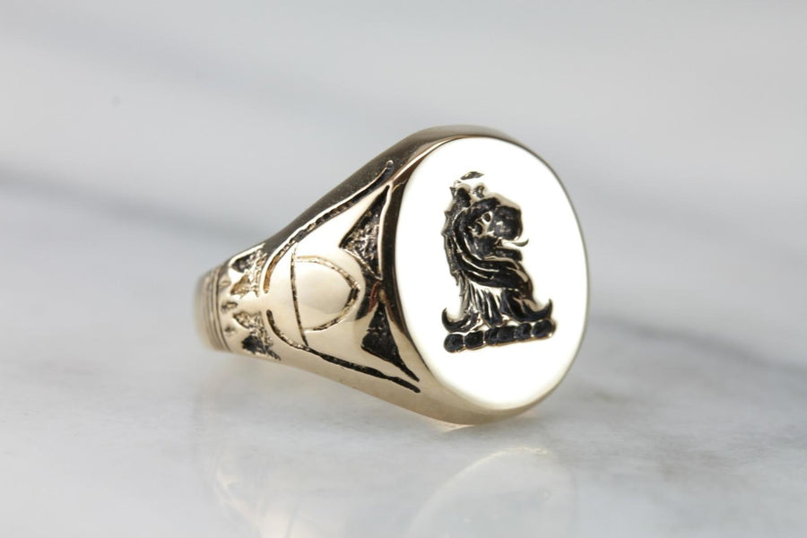 Vintage Egyptian Style Lion Gold Signet Ring