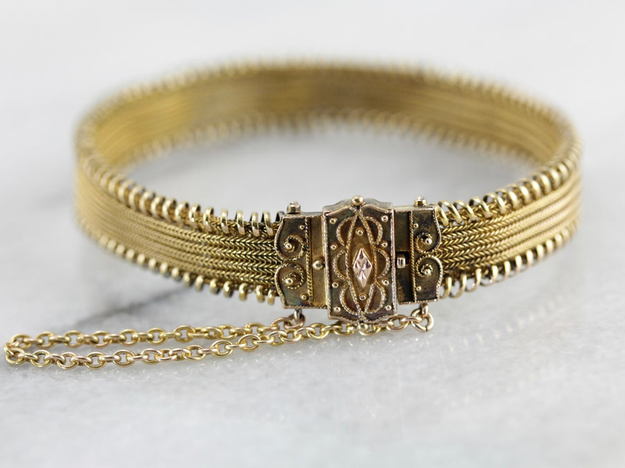 Superb Antique Victorian Mesh Bracelet in Yellow Gold