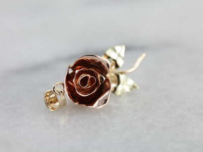 Sweet Multi Color Rose Pendant, Crafted From Vintage Gold Brooch
