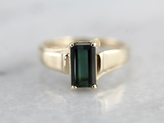 Slightly Asymmetrical Green Tourmaline Statement Ring Crafted of Yellow Gold