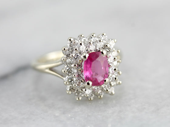Pink Sapphire Double Halo Ring in White Gold