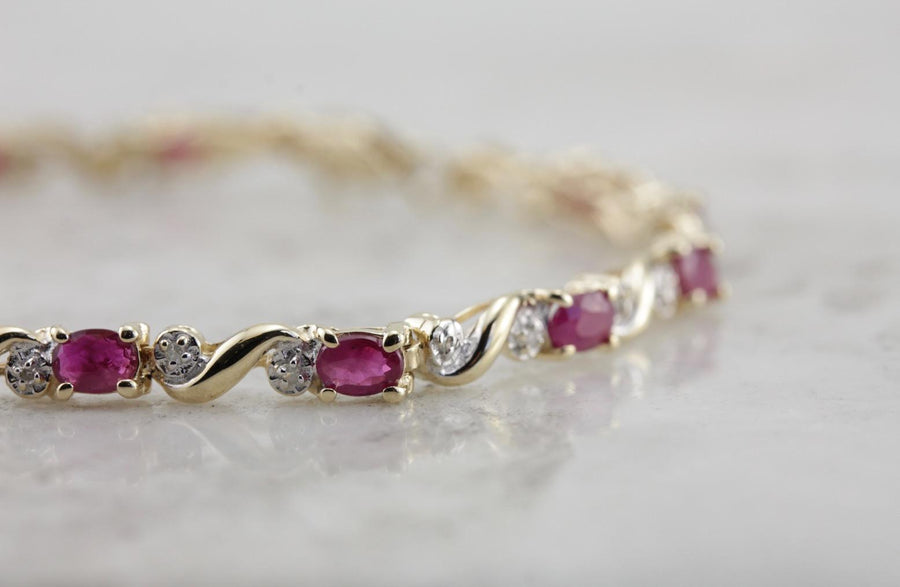 Ruby and Diamond Classic Tennis Bracelet