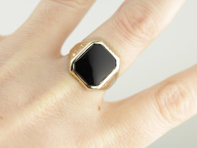 Men's Art Deco Black Onyx Ring with Pierced and Engraved Shoulders