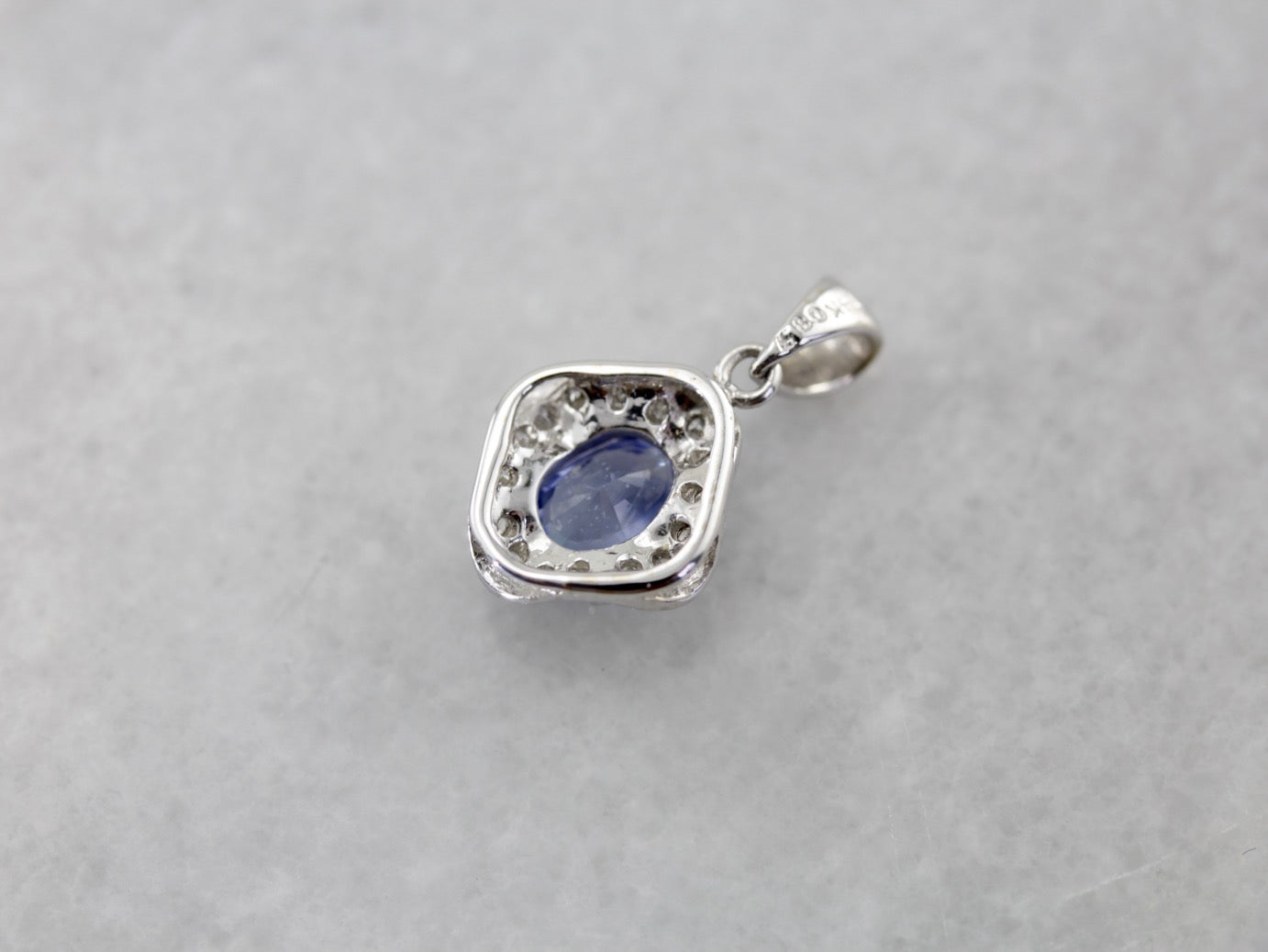 Periwinkle sapphire pendant with sweet white gold and diamond frame aloadofball Gallery