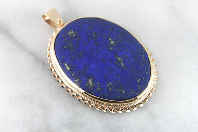 Midnight Alignment: Fine Lapis Pendant in Yellow Gold Frame