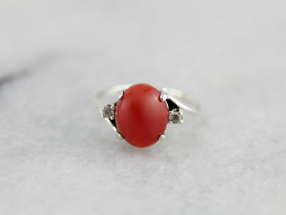 Vintage Deep Red Coral Ring with Diamond Accents in Sterling Silver