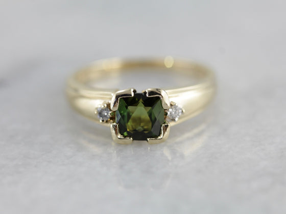 Olive Green Tourmaline Ring with Wide Diamond Studded Shoulders in Yellow Gold