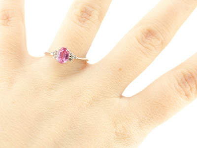 Rare Pink Sapphire Virginia Ring in White Gold, from the Elizabeth Henry Collection