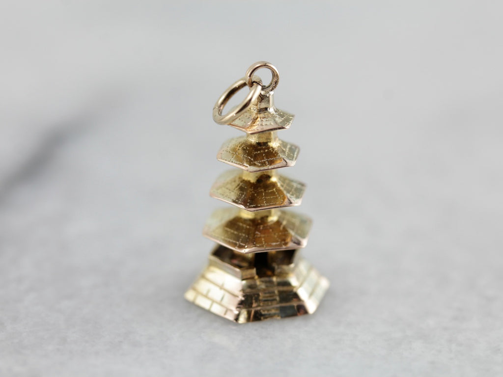 Pagoda Temple Charm or Pendant in Yellow Gold