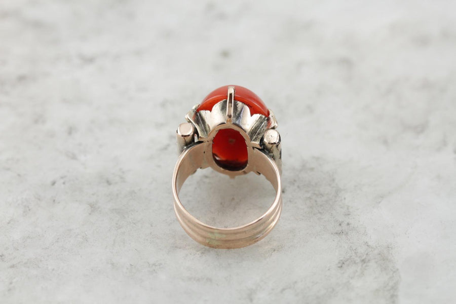 Rare Antique, Victorian Coral Ring, Deep Orange, Salmon Coral Cabochon Cocktail Ring