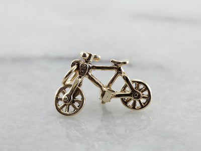 Moving Wheels, Gold Bicycle Charm