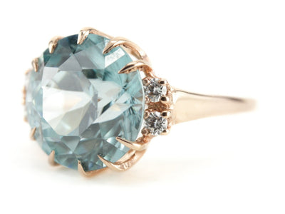 Blue Zircon Cocktail Ring in the Morgan Setting by Elizabeth Henry