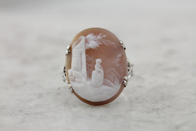 Rebecca At The Well, Vintage 1920's Cameo Cocktail Ring