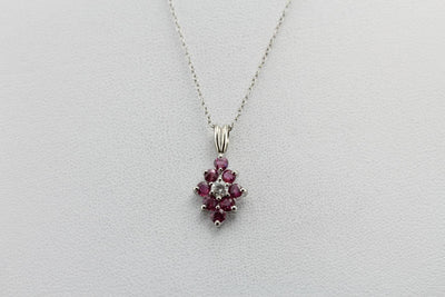 Diamond and Ruby, Rich Pink Halo Layering Pendant in White Gold