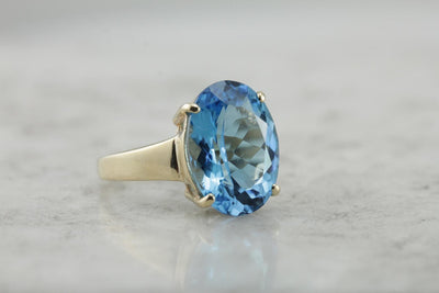 Bright Blue Topaz Cocktail Ring, Blue Statement Ring in Gold Mounting